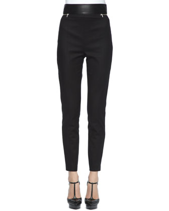 Leather-Waist Stretch Cotton Pants