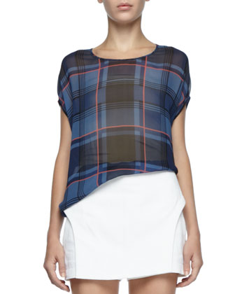 Sheer Plaid Silk Top