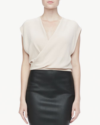 Surplice Silk Crop Top