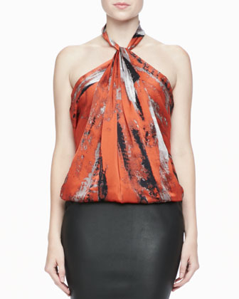 Brushstroke-Print Halter Top & High-Waist Leather Pencil Skirt