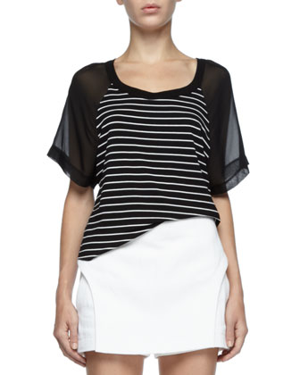 Striped Sheer-Sleeve Top