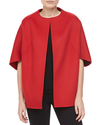 Double-Faced Melton Wool Jacket, Crimson