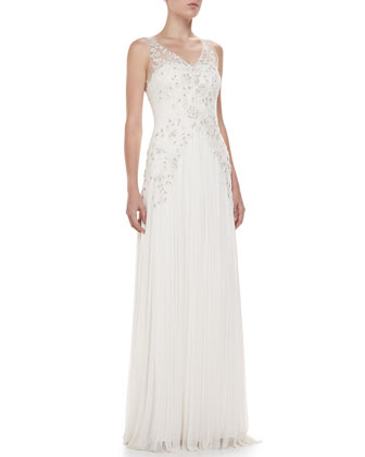 Sheridan Sleeveless Embroidered Tulle Gown