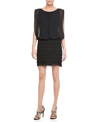 Sleeveless Blouson Fringe Cocktail Dress, Black
