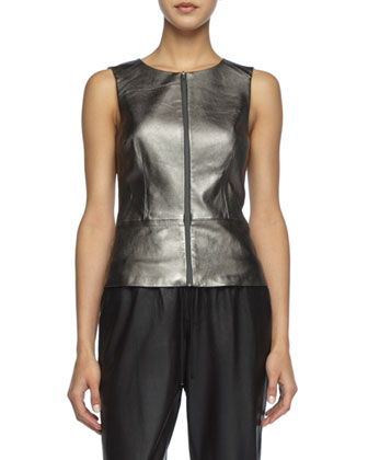 Tatyana Metallic Leather Top