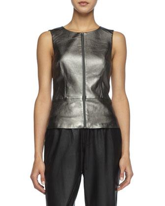 Tatyana Metallic Leather Top