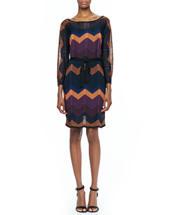 Albo Zigzag Tie-Waist Dress