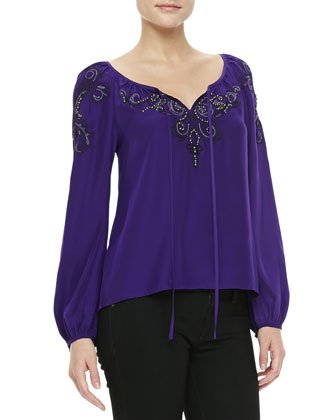 Embroidered Tie-Front Silk Top