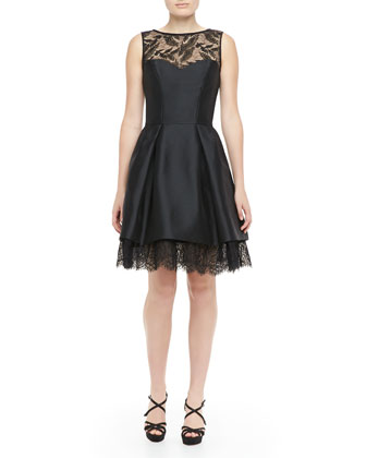 Sleeveless Lace-Hem Party Dress