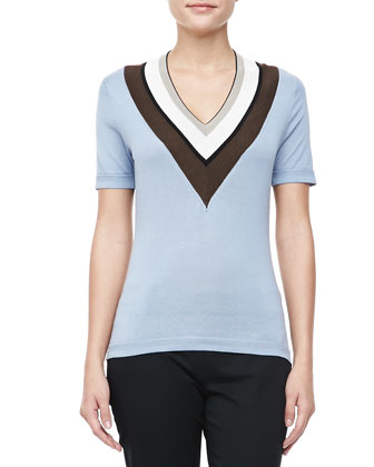 V-Neck Striped-Trim Top, Cornflower