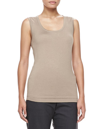 Scoop-Neck Knit Tank, Taupe
