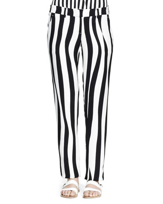 Andrew Optic-Stripe Silk Pants