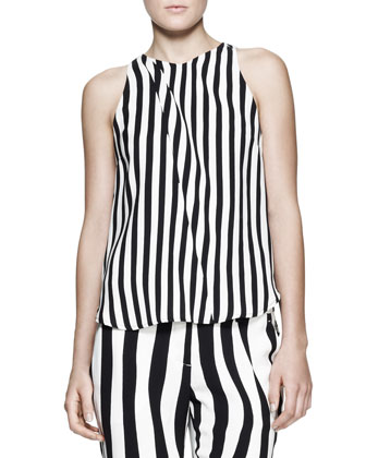 Laselz Optic-Stripe Silk Top