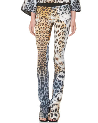Leopard-Print Slightly Flared Pants