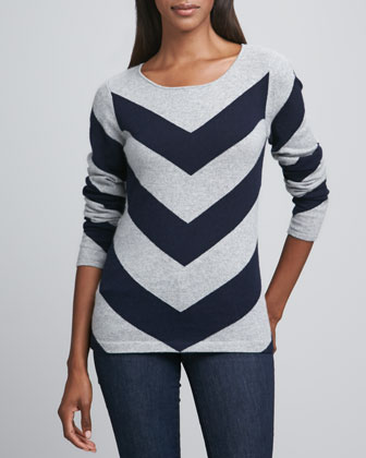 Chevron-Striped Cashmere Pullover