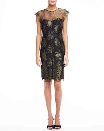 Lace Sheath Dress, Gold and Black
