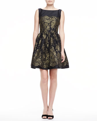 Sleeveless Lace Dress with Full Skirt