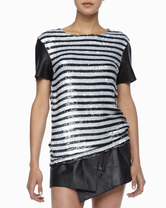 Nichols Striped Sequined Top