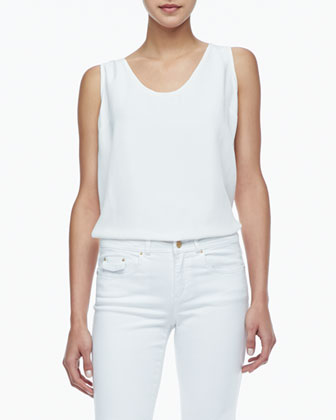 Kathleen Scoop-Neck Tank, White