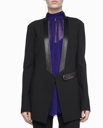 Leather-Trim Tuxedo Jacket