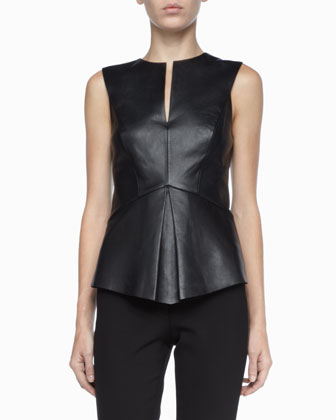 Stretch-Leather Sleeveless Top