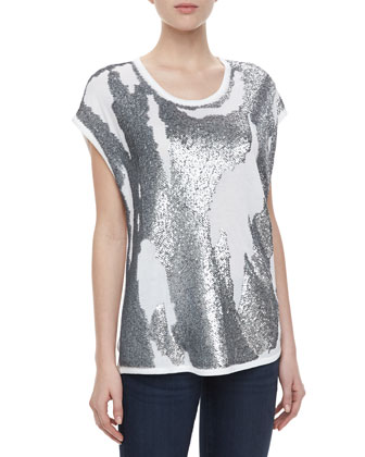 Distressed Sequined Jersey Tee
