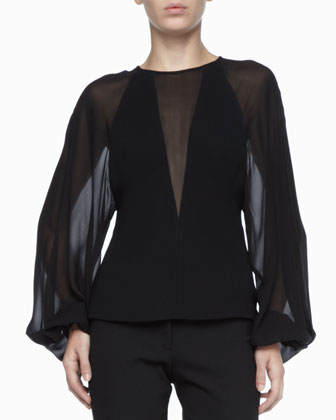 Sheer-Inset Crepe Top