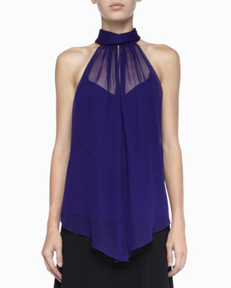 Sleeveless Silk Halter Top