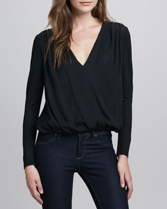 Cross-Front Silky Blouse