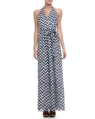 Gustavia Zigzag-Print Halter Dress