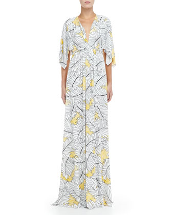 Jersey Long Print Caftan Dress, Women's