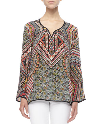 Lolita Silk Printed Tunic, Women's