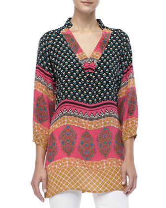 Chandra Long Printed Silk Tunic, Women's