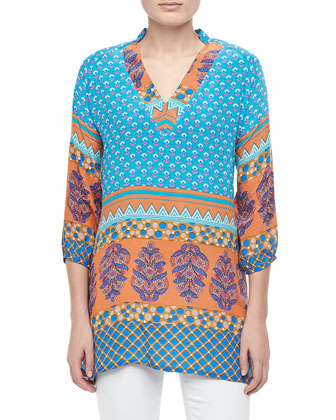 Chandra Long Printed Silk Tunic