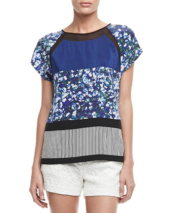 Quinn Mixed-Print Silk Top