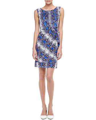 New Della Python-Print Dress, Pop Blue