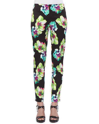 Kareena Silk Top & Floral-Print Straight-Leg Pants