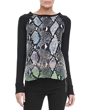 Lisha Long-Sleeve Python-Print Blouse