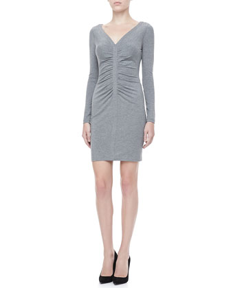 Greece Long-Sleeve Ruched Front Dress, Heather Gray