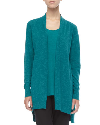 High-Low Slub Cardigan, Petite