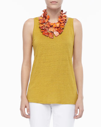 Linen Jersey Scoop-Neck Tank Top