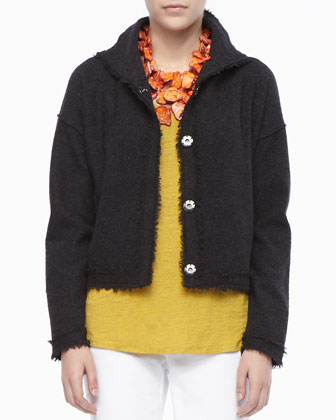 Boiled Wool Short Jacket, Petite