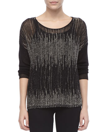 Blur-Stripe Boxy Wool/Linen Sweater, Women's