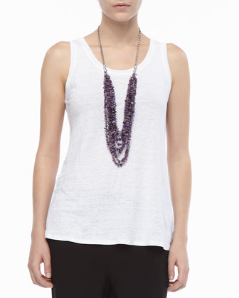 Linen Jersey Scoop-Neck Top