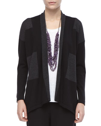 Wide-Striped Wool Cardigan, Petite