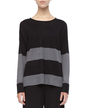 Striped Linen Long-Sleeve Top, Petite