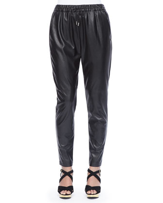 Faux-Leather Slim-Fit Regata Pants, Women's