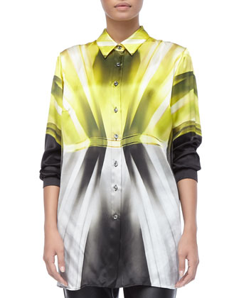 Abstract-Print Shirt/Jacket & Faux-Leather Slim-Fit Pants, Women's