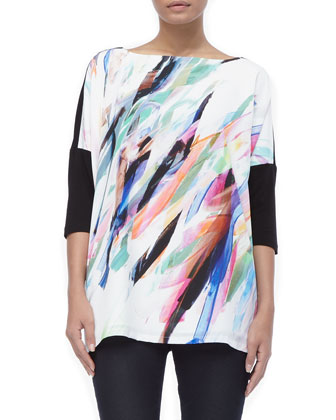 Victoria Painterly Three-Quarter-Sleeves Tee, Women's