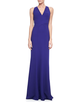 Sleeveless V-Neck Open-Back Gown
